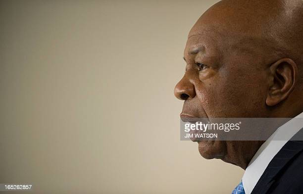 US Congressman Elijah Cummings DMD speaks at the National Press Club on April 2 during a news conference on a Reality Check on Congressional Gun...