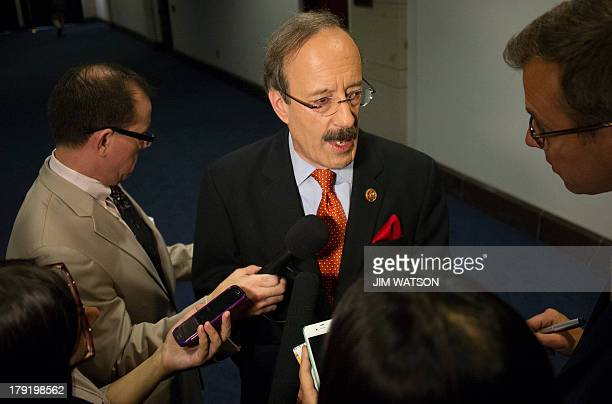 US Congressman Eliot Engel DNew York speaks to reporters on Capitol Hill in Washington DC September 1 2013 before a closed membersonly security...