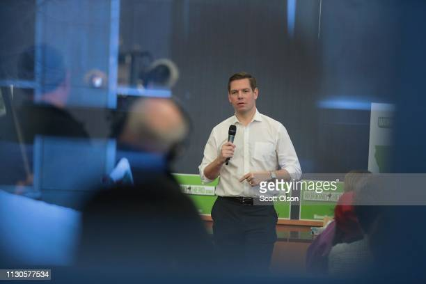 Congressman Eric Swalwell speaks to guests during an event at the Iowa City Public Library on February 18, 2019 in Iowa City, Iowa. Swalwell has been...