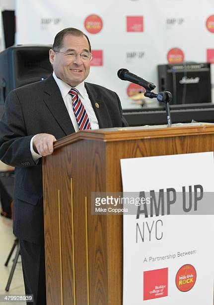 Congressman from the Tenth congressional District of New York Jerry Nadler speaks at the Little Kids Rock Berklee College of Music Launch Amp Up NYC...