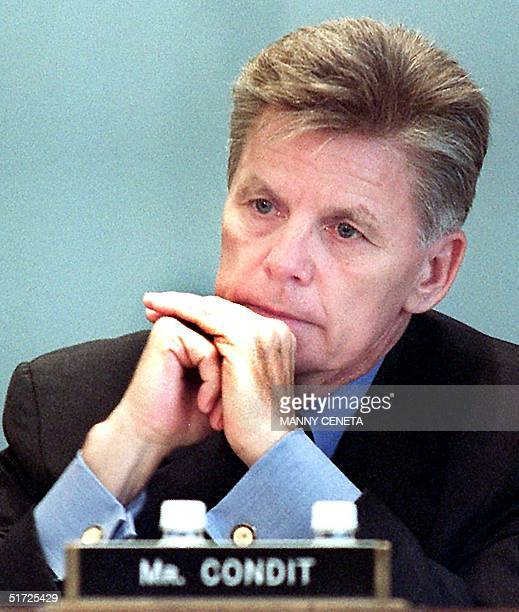 Congressman Gary Condit listens during US House Agriculture Committee hearings 18 July, 2001. Condit is under intense scrutiny in the case if missing...