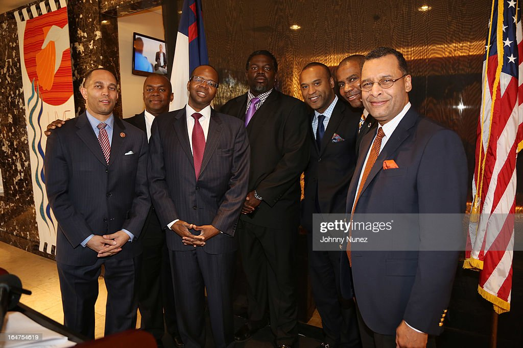 Congressman Hakeem Jeffries, Richard R. Buery, Jr., Ken Thompson, Michael 'Blue' Williams, L. Londell McMillan, Gregory A, Thomas, and Rev. A.R. Bernard attend the Guns 4 Greatness Press Conference at Christian Cultural Center on March 27, 2013, in the Brooklyn borough of New York City.