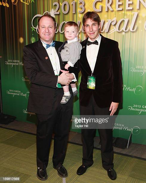 Congressman Jared Schutz Polis DCO02 son Caspian Julian and partner Marlon Reis attend 2013 Green Inaugural Ball at NEWSEUM on January 20 2013 in...
