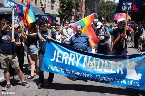Congressman Jerrold Nadler marches during the 2017 Pride March in the West Village on June 25 2017 in New York City