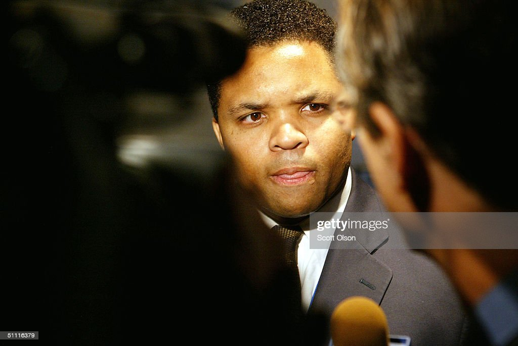 Congressman Jesse Jackson Jr. (D-IL) gets interviewed by a television crew follow a meeting of the Illinois delegation for the Democratic National Convention July 26, 2004 in Boston, Massachusetts. The Democratic National Convention begins today at the FleetCenter.