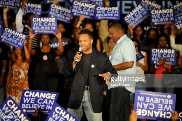 Congressman Jesse Jackson Jr on stage at the Last Chance For Change Rally in support of Barack Obama on November 2 2008 in Fort Lauderdale Florida