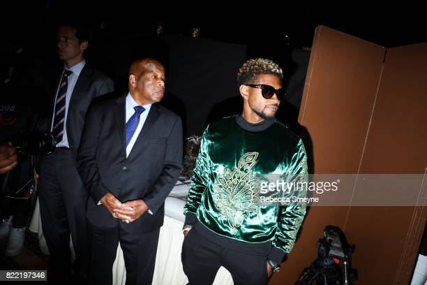 Congressman John Lewis and Usher backstage at the Gordon Parks Foundation Awards Dinner at Cipriani 42nd on June 6 2017 in New York City