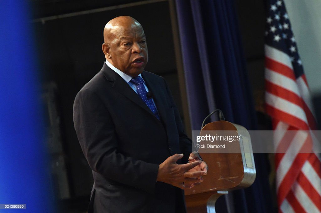 Congressman John Lewis chats with addresses audience attending Nashville Public Library Award to Civil Rights Icon Congressman John Lewis - Literary Award on November 19, 2016 in Nashville, Tennessee.