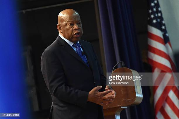 Congressman John Lewis chats with addresses audience attending Nashville Public Library Award to Civil Rights Icon Congressman John Lewis Literary...