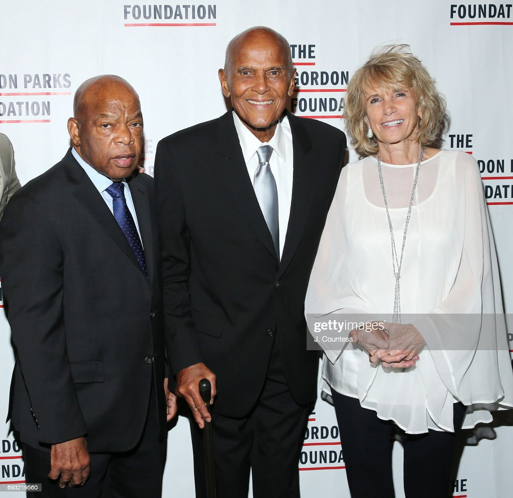 Congressman John Lewis, Harry Belafonte and Pamela Frank attend the 2017 Gordon Parks Foundation Awards Gala at Cipriani 42nd Street on June 6, 2017 in New York City.