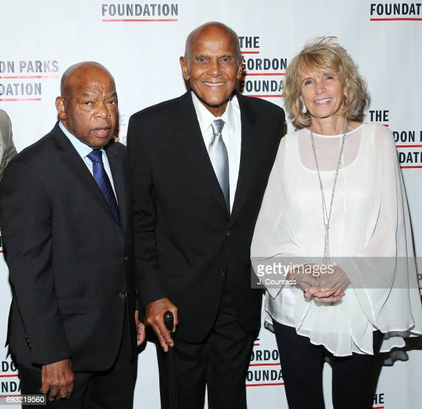 Congressman John Lewis Harry Belafonte and Pamela Frank attend the 2017 Gordon Parks Foundation Awards Gala at Cipriani 42nd Street on June 6 2017 in...