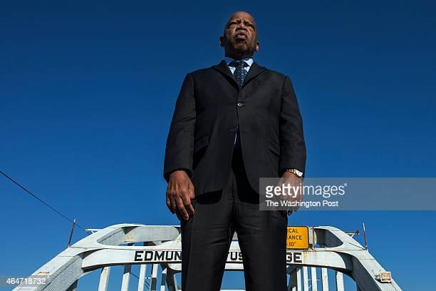 Congressman John Lewis on the Edmund Pettus Bridge in Selma AL on February 14 2015 Lewis was beaten on the bridge on Bloody Sunday in 1965 While...