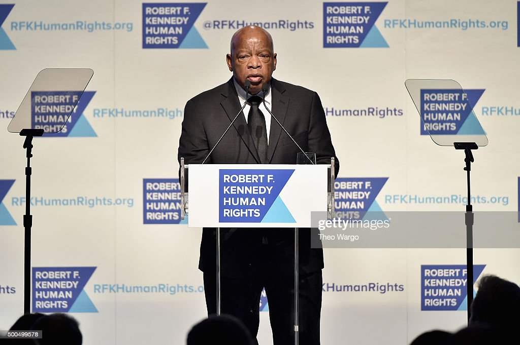 Congressman John Lewis speaks onstage as Robert F. Kennedy Human Rights hosts The 2015 Ripple Of Hope Awards honoring Congressman John Lewis, Apple CEO Tim Cook, Evercore Co-founder Roger Altman, and UNESCO Ambassador Marianna Vardinoyannis at New York Hilton on December 8, 2015 in New York City.