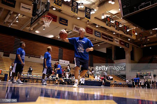 US Congressman John Shimkus warms up with the Congressional Members team before the Hoops for Hope 2006 game at George Washington University...