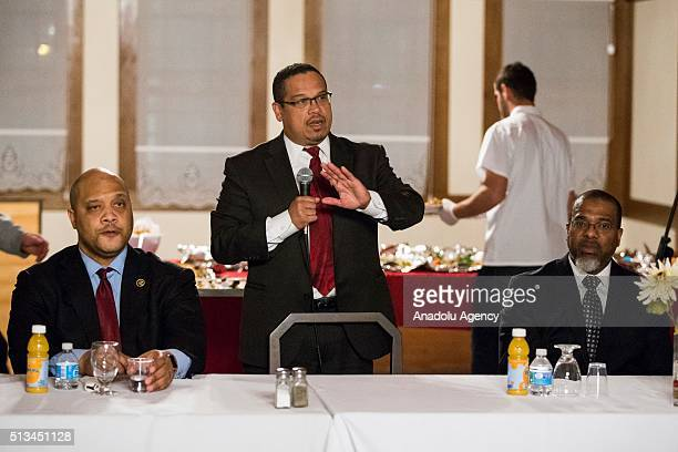 Congressman Keith Ellison speaks during a Dining and Discussion event at the Diyanet Center of America Fellowship Hall in Washington USA on March 2...