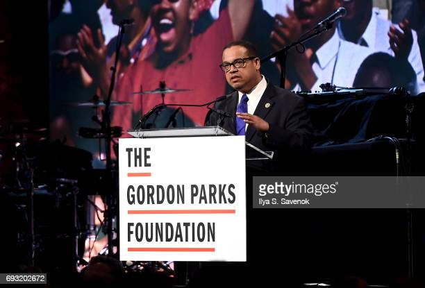 Congressman Keith Ellison speaks during the 2017 Gordon Parks Foundation Awards Gala at Cipriani 42nd Street on June 6 2017 in New York City