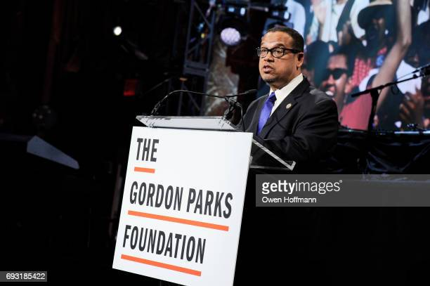 Congressman Keith Ellison speaks onstage during the Gordon Parks Foundation Awards Dinner Auction at Cipriani 42nd Street on June 6 2017 in New York...