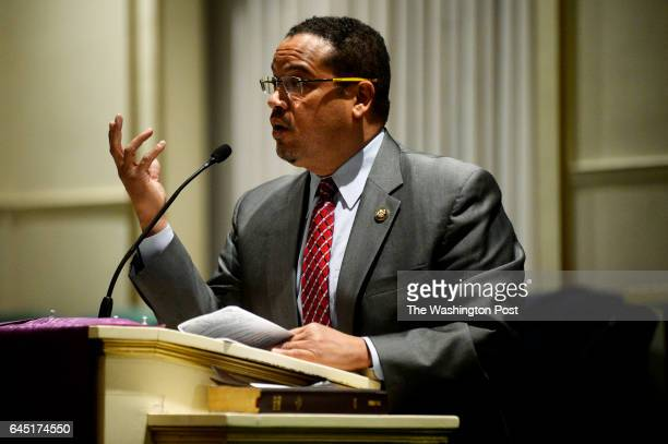 Congressman Keith Ellison speaks to a full room at the Church of the New Covenant Baptist in Detroit United States on December 22 2016