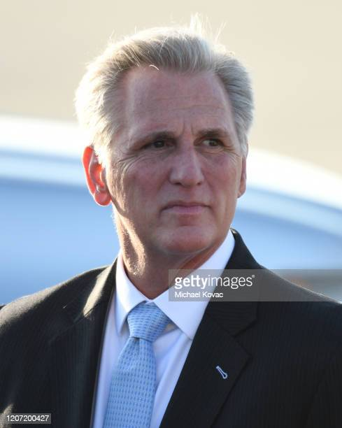 Congressman Kevin McCarthy after arriving on Air Force One at LAX Airport on February 18 2020 in Los Angeles California