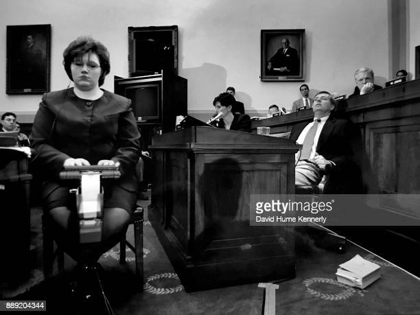 Congressman Lindsey Graham listens to the testimony of Independent Counsel Kenneth Starr addressing the House Judiciary Committee regarding his...