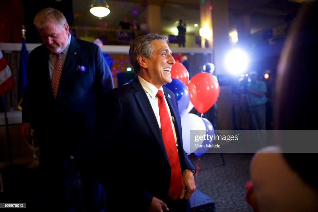 U.S. Congressman Lou Barletta (R - Pa.) exits the stage after delivering addressing supporters on his victory in the 2018 Pennsylvania Republican Primary Election for U.S. Senator on May 15, 2018 in Hazleton, Pennsylvania. In the second major May primary day nationwide, four states go to the polls: Idaho, Nebraska, Oregon, and Pennsylvania.