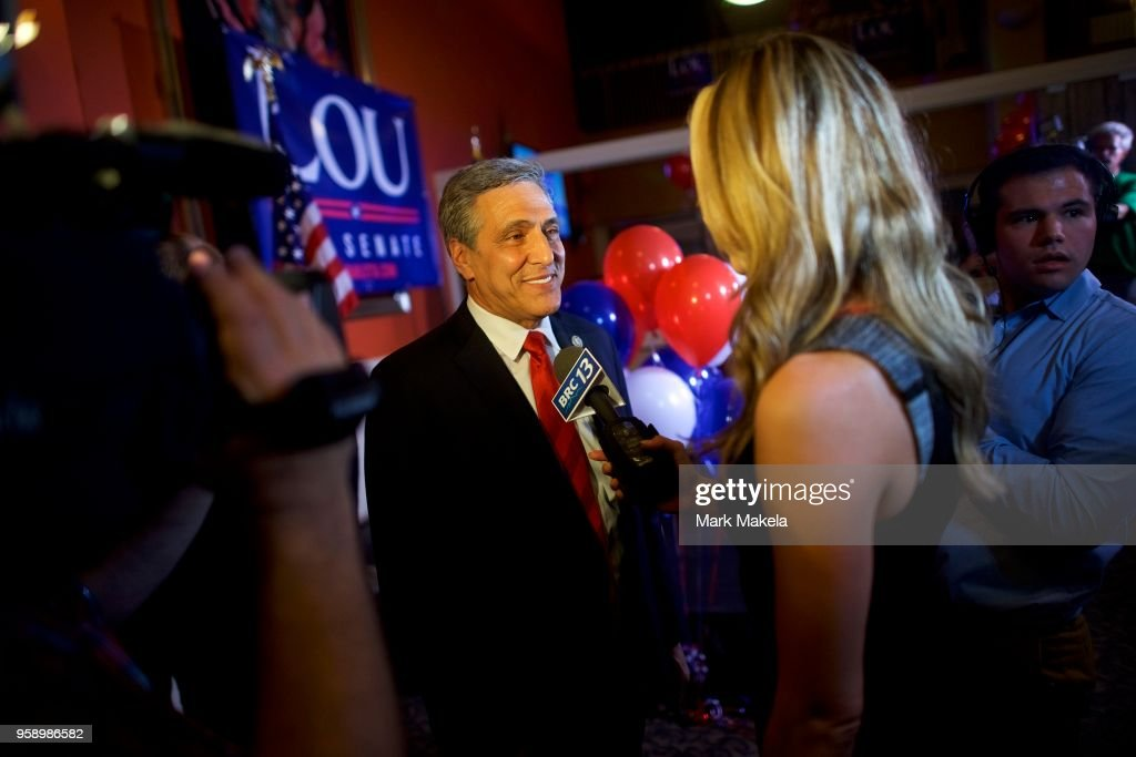 U.S. Congressman Lou Barletta (R - Pa.) gives an interview with the media after his victory in the 2018 Pennsylvania Primary Election for U.S. Senator on May 15, 2018 in Hazleton, Pennsylvania. In the second major May primary day nationwide, four states go to the polls: Idaho, Nebraska, Oregon, and Pennsylvania.