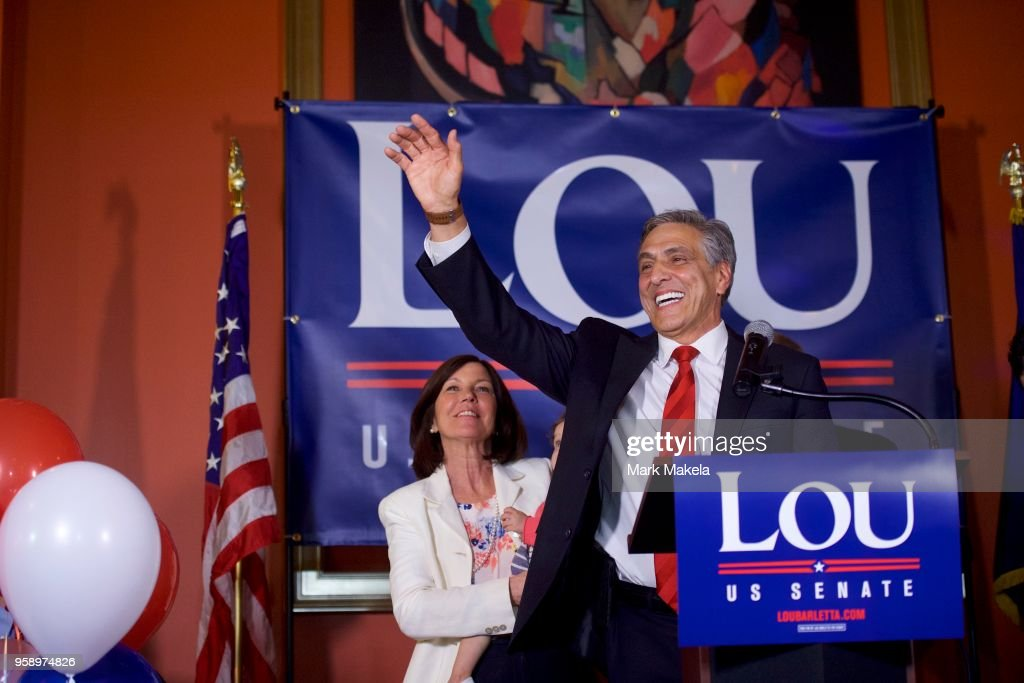 U.S. Congressman Lou Barletta (R - Pa.) waves to supporters after winning the 2018 Pennsylvania Republican Primary Election for U.S. Senator on May 15, 2018 in Hazleton, Pennsylvania. In the second major May primary day nationwide, four states go to the polls: Idaho, Nebraska, Oregon, and Pennsylvania.