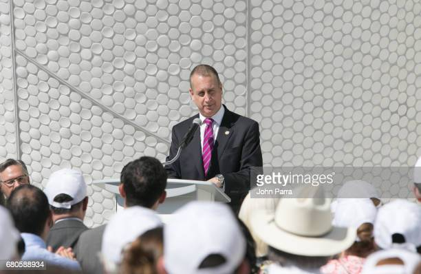 Congressman Mario DiazBalart speaks during the Phillip And Patricia Frost Museum Of Science opening and dedication Ceremony at Frost Art Museum at...