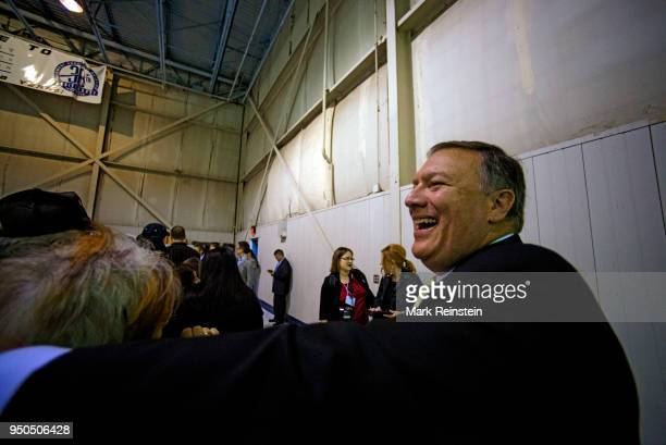 Congressman Mike Pompeo greets and shakes hands with supportrs at a rally for Senator Pat Roberts who is running for reelection Wichita Kansas...