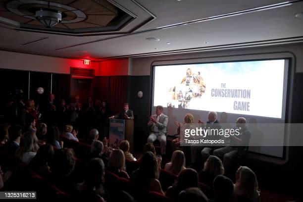 Congressman Mike Quigley, Steve Clemons, Carole Baskin, Michael Webber, and Tim Harrison speak during a screening of THE CONSERVATION GAME at Eaton...