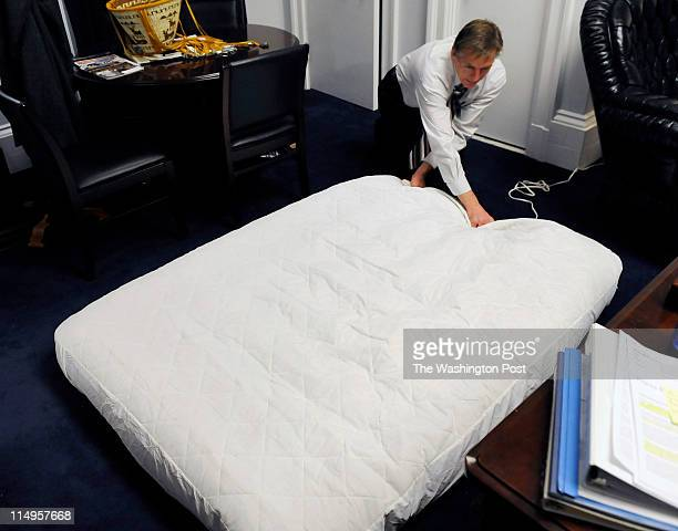 Congressman Paul Gosar DDS fills up an air mattress at his office in the Cannon building in Washington DC on February 9 2011 Gosar is one of many...