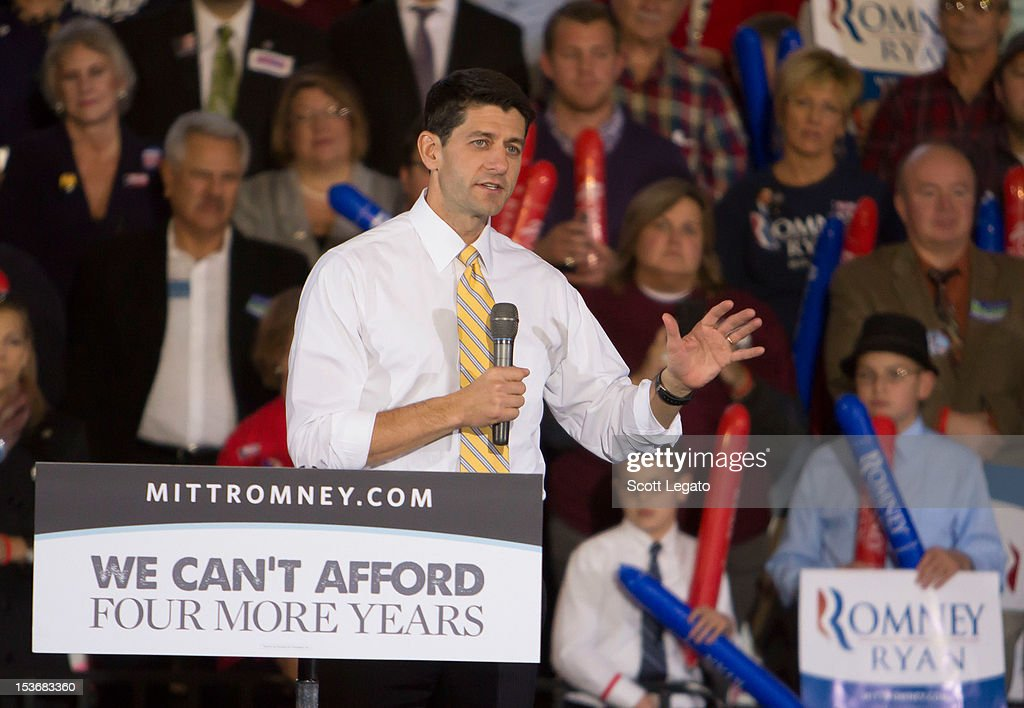Congressman Paul Ryan attends the Congressman Paul Ryan Rally With Kid Rock at Oakland University Athletic Center on October 8, 2012 in Rochester, Michigan.