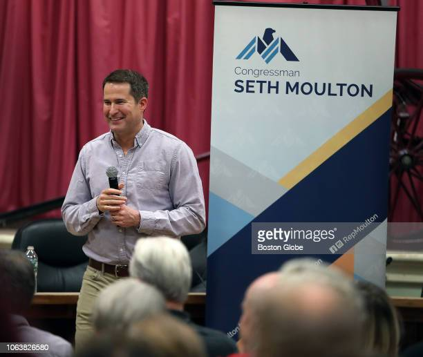 Congressman Seth Moulton hosts a Town Hall meeting at Amesbury City Hall in Amesbury MA on Nov 19 2018 Some attendees held signs in support of Nancy...