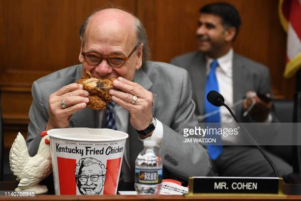 Congressman Steve Cohen Democrat of Tennessee eats chicken as during a hearing before the House Judiciary Committee on Capitol Hill in Washington DC...