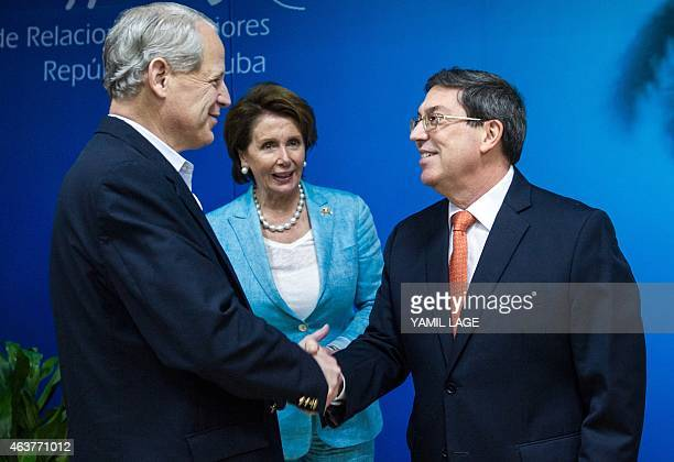 Congressman Steve Israel shakes hands with Cuban Foreign Minister Bruno Rodriguez at the Foreign Ministry in Havana, on February 18, 2015. At center...