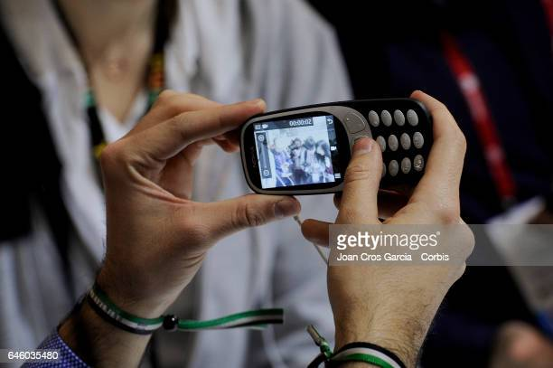 A congressman testing the new Nokia 3310 during the Mobile World Congress on February 27 2017 in Barcelona Spain 'n