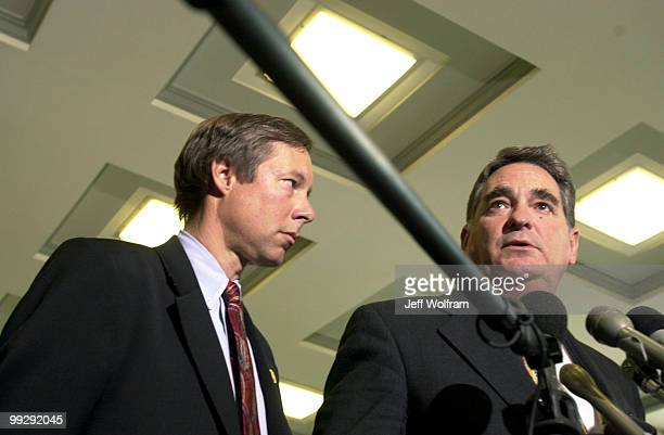 Congressman WJ Tauzin R3LA addresses the press with Fred Upton R6MI after a meeting with Ford's CEO Jacques Nasser