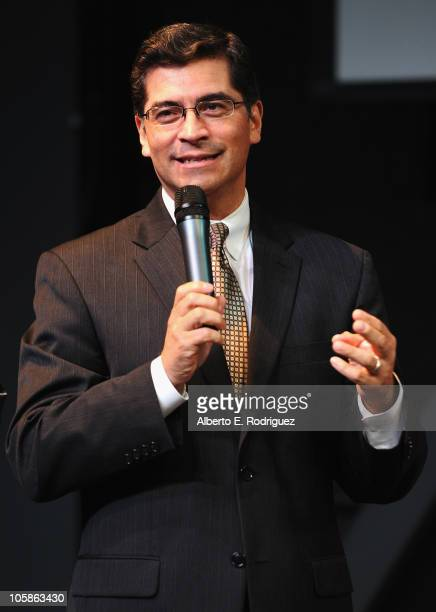 Congressman Xavier Becerra speaks at a reception at Inner City Arts on October 20 2010 in Los Angeles California