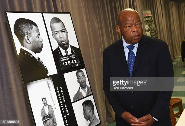 Congressman/Civil Rights Icon John Lewis views for the first time images and his arrest record for leading a nonviolent sit-in at Nashville's...