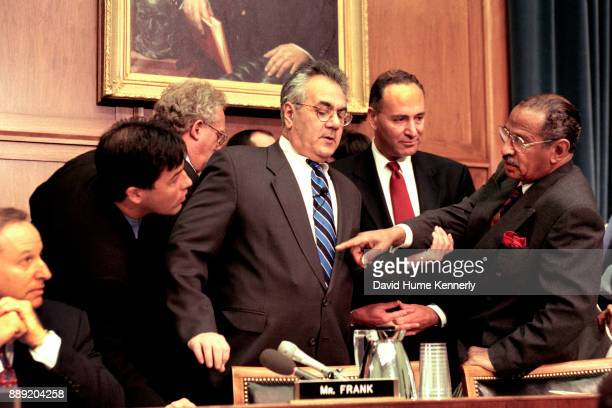 Congressmen Barney Frank Chuck Schumer and John Conyers during the House Judiciary Committee hearing on the impeachment of President Bill Clinton's...