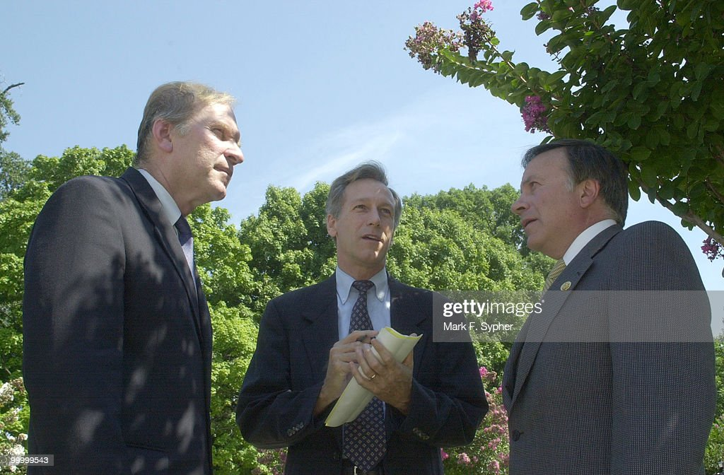 Congressmen Steve Chabot (R-OH), Virgil H. Goode Jr. (I-VA) and Thomas G. Tancredo (R-CO) gathered together at the House Triangle before Congressman Bob Barr (R-GA) addressed the press and public, urging on the President declare war, as they have, on the terrorist attackers responsible for the September 11, 2001 attack on America.