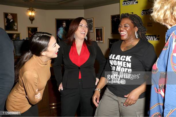 Congresswoman Alexandria OcasioCortez Amy Vilela and Cori Bush attend the SXSW premiere of the Netflix Original Documentary 'Knock Down the House' at...