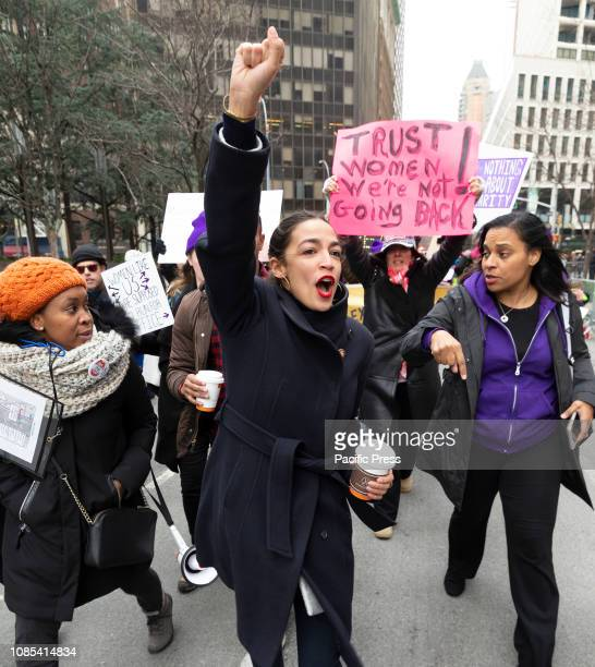 Congresswoman Alexandria OcasioCortez attends 3rd Annual Women's Rally and March on streets of Manhattan organized by Women's March Alliance