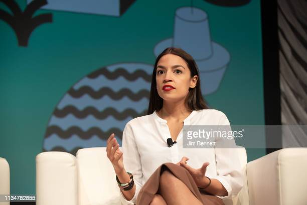Congresswoman Alexandria OcasioCortez is interviewed live onstage during the 2019 SXSW Conference and Festival at the Austin Convention Center on...