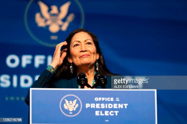 Congresswoman Deb Haaland delivers remarks after being introduced as US President-elect Joe Bidens nominee to be the next US Secretary of Interior at...