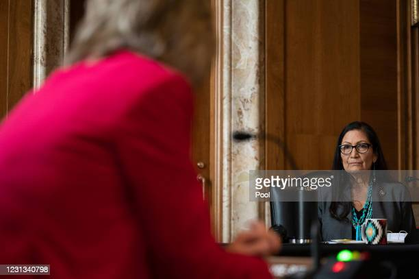 Congresswoman Deb Haaland, D-New Mexico, is questioned by US Senator Cindy Hyde-Smith, R-Mississippi, during the Senate Committee on Energy and...