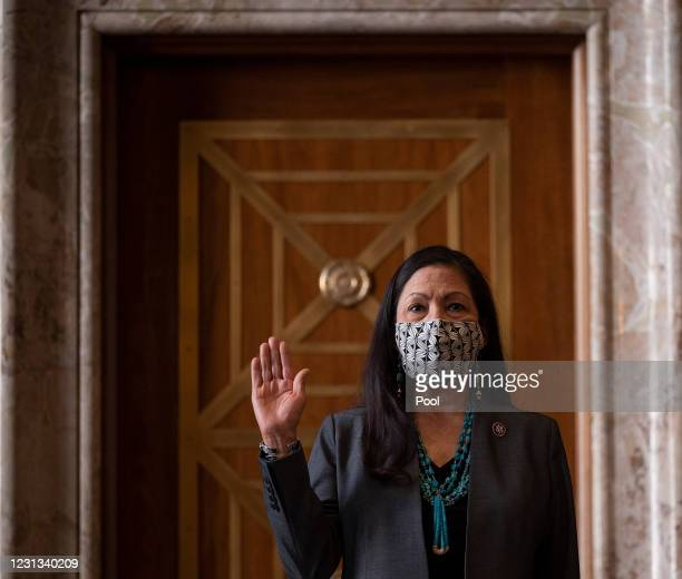 Congresswoman Deb Haaland, D-N.M., is sworn in during the Senate Committee on Energy and Natural Resources hearing on her nomination to be Interior...