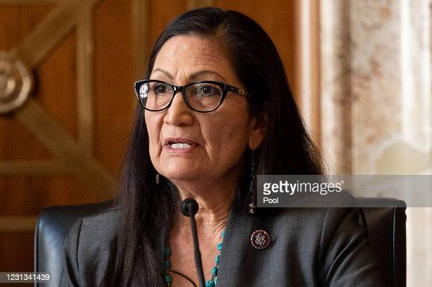 Congresswoman Deb Haaland, D-NM, speaks during the Senate Committee on Energy and Natural Resources hearing on her nomination to be Interior...