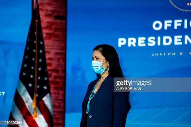 Congresswoman Deb Haaland waits to deliver remarks after being introduced as US President-elect Joe Biden's nominee to be the next US Secretary of...