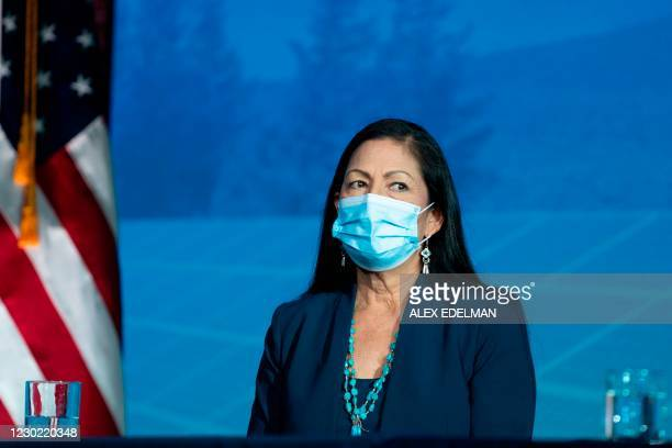 Congresswoman Deb Haaland waits to deliver remarks after being introduced as US President-elect Joe BidenÕs nominee to be the next US Secretary of...